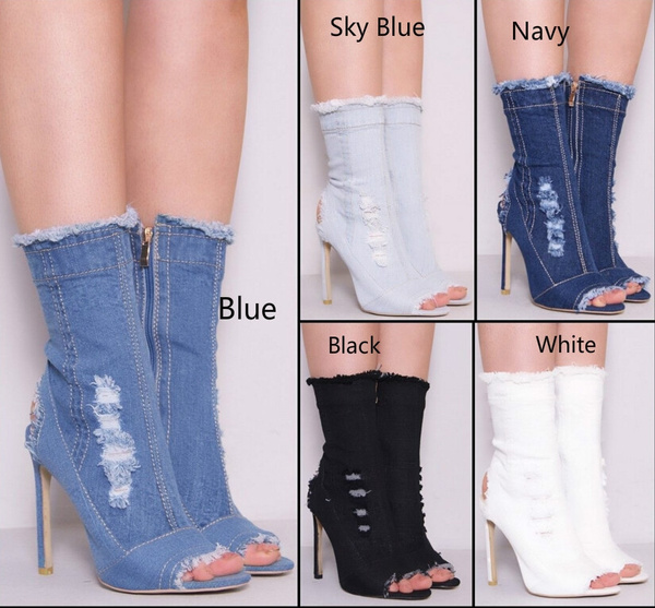 Picture of Ladies Womens Distressed Denim Ankle Ripped Sexy Style Boots