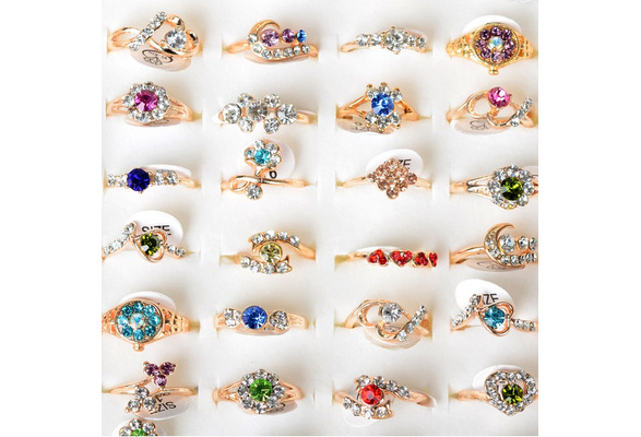 Wholesale Lots Mixed 36pairs/1box Cat's Eye Created Pearl Crystal Vogue Lady's Jewelry Rose Gold Rings