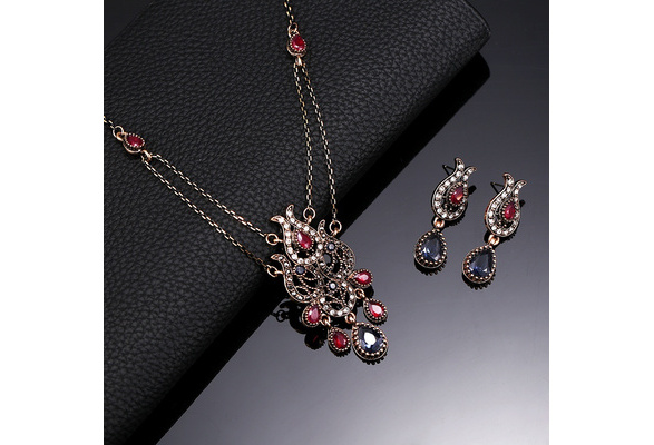 Romantic Classic Crystal Rhinestone Flower Necklace Earring Set Fashion Love Pretty Prom Wedding Jewelry Sets Women Accessories