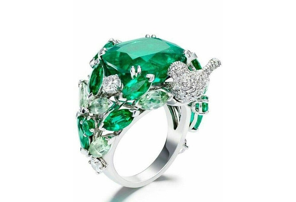 Natural 5 ct Green Emerald zircon 925 Sterling silver ring wedding jewelry size 6-10
