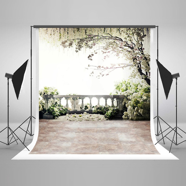 5x7ft150x220cmdigital Photography Backdrops Brick Floor White Flowers Background Natural Scenery For Wedding Photo Studio Backdrop