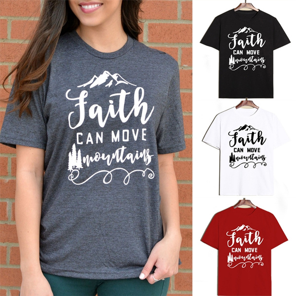 Picture of Faith Can Move Mountains T-shirt Tops Jesus Christian Religion Shirt Men Women 100 Cotton Short Sleeve Tee Oversized Graphic T Shirts 4 Colorsxs-2xl