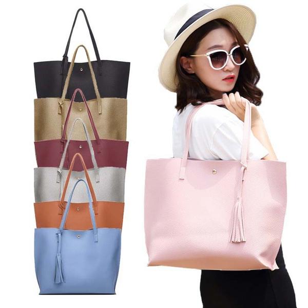 Picture of Brand Women Shoulder Bag Handbags Ladies Tassel Tote Handbag Solid Color Large Capacity Messager Bag