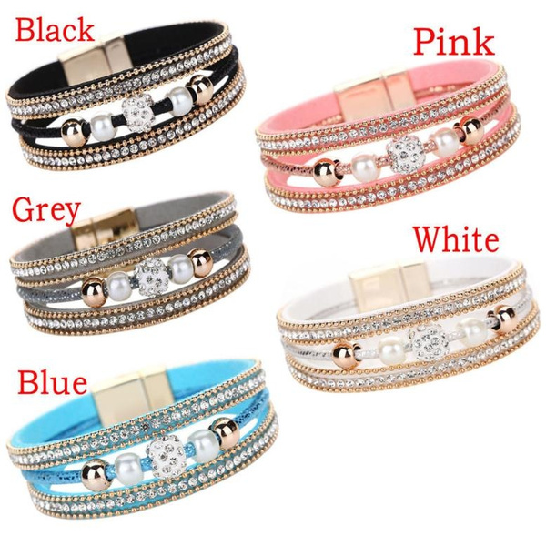 Wandergirls Women Multilayer Bangle Bracelet Crystal Beaded Leather Magnetic Wristband
