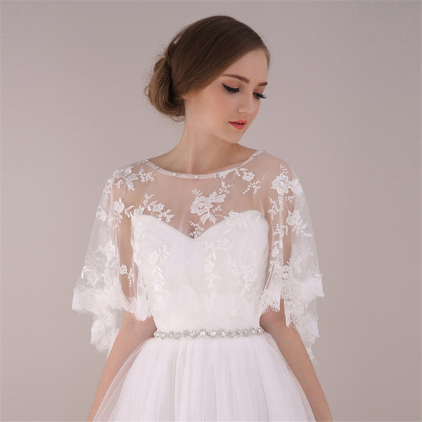 Wish Vintage Hochzeit Braut Elfenbein Spitzen Armellose Jacken