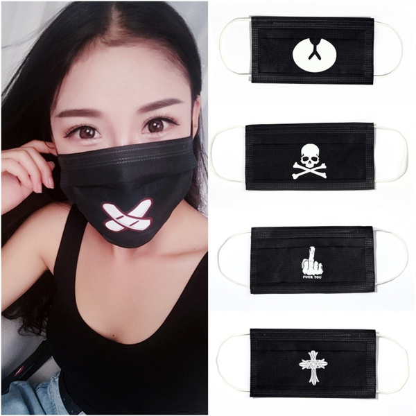 black disposable mouth mask