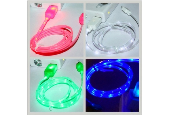 Apple LED Charger Light Up Charging Cable Luminescent Visible Current Flow Smart Charger & Sync Cable for Apple iPhone 44S55S66SAndroid