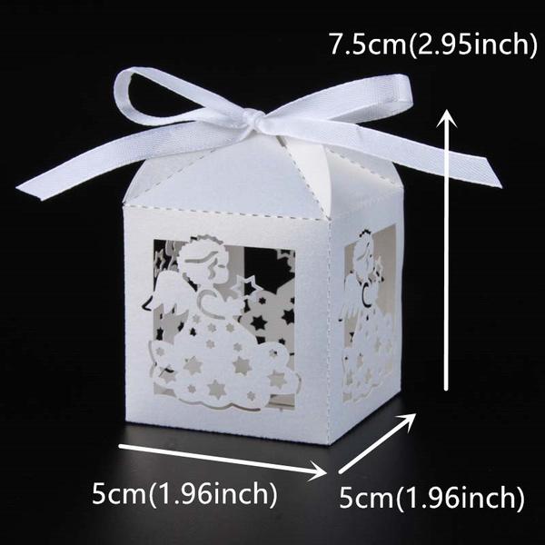 Home 50 Pcs Laser Cut Angel Wedding Candy Box Baby Shower Favor