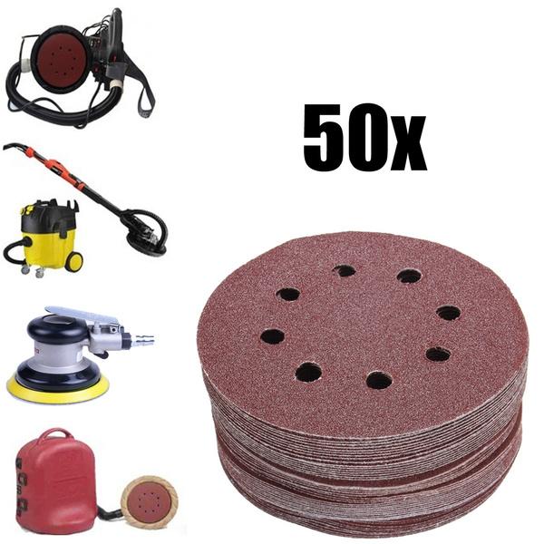 """50x 5/"""" 8 Hole 80//120//180//240//320 Grit Sanding Disc Random Orbit Hook /& Loop"""