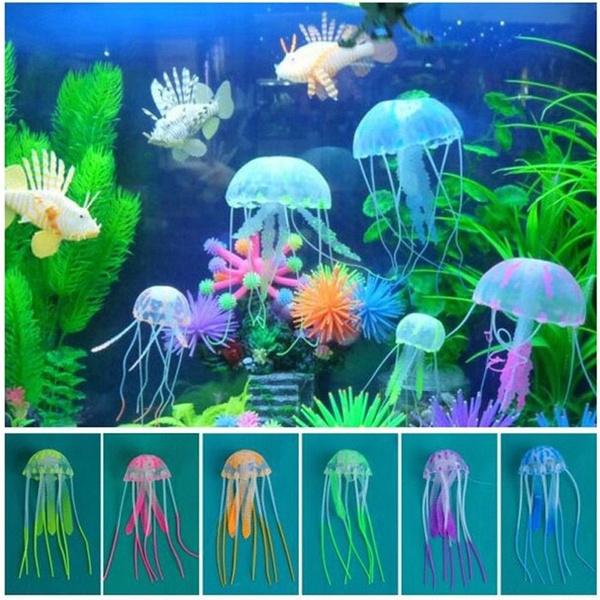2017 Small Size Silicone Aquarium Decor Jellyfish Ornament Aquarium Landscaping Hot Selling Artificial Jellyfish Fish Tank Decoration Glowing Medusa
