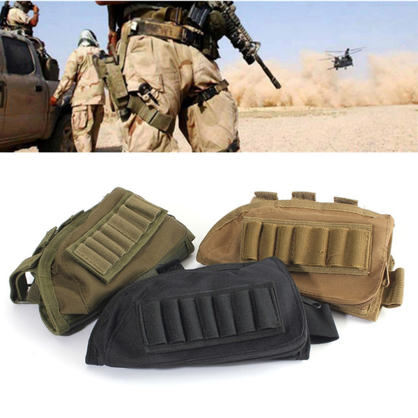 Tactical Military Hunting Rifle Butt Cheek Rest Shell Ammo Pouch Bag  Shotgun With Leather Pad