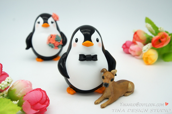 Wish | Penguin Wedding Cake Toppers With A Dog-Bride And Groom ...