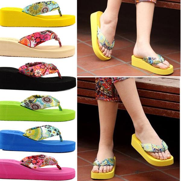 Picture of Women Summer Flip Flops Wedge Heeled Platforms Girls Sandals Beach Shoes Anti-slip