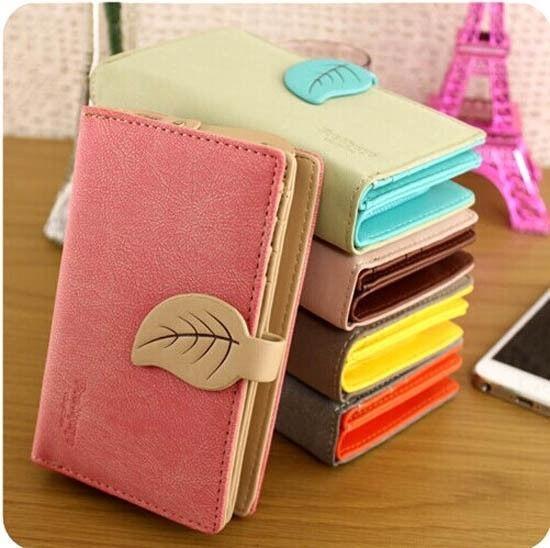 Picture of Women Retro Leather Leaf Purse Card Holder Multi-color Clutch Wallet Medium Bag