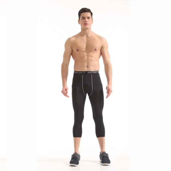 Men Compression Pants Capris Trousers Sports Tights Base Layers Fitness Training