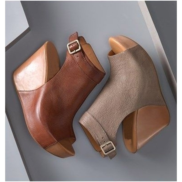 Picture of Women Summer Wedge Heel Sandal Peep Toe Ankle Wrap Shoes