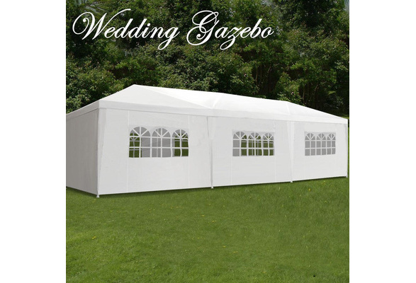10'x30' Outdoor Canopy Party Wedding Tent White Gazebo Pavilion w/ Side Walls