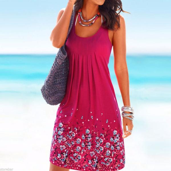 Women Summer Casual Evening Party Loose Printing Beach Dress Short Mini Dress