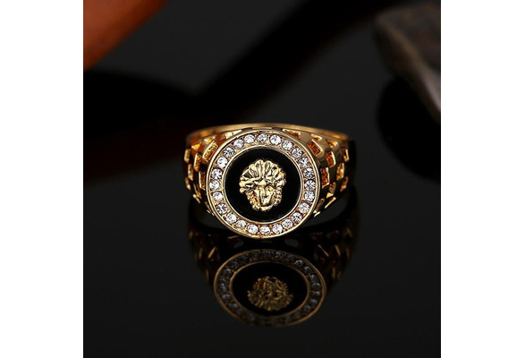 Lin8? Men's Design High Quality of Gold Plating Black Fashion Ring Jewelry