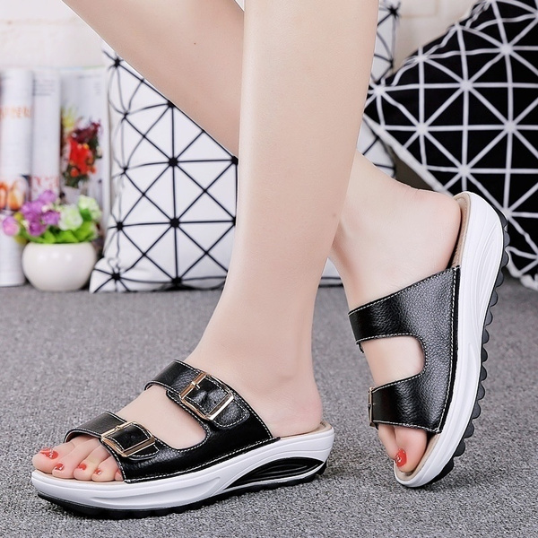 Picture of Summer New Women Sandals Wedges Shoes White Ladies Sexy Leather Sandles Slipper