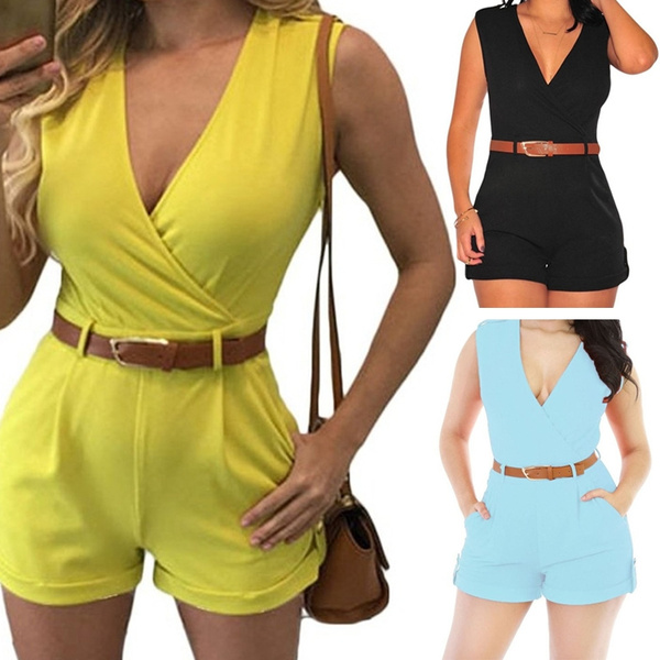 Picture of Summer Fashion Deep V-neck Sleeveless Sexy Short Jumpsuit Playsuit