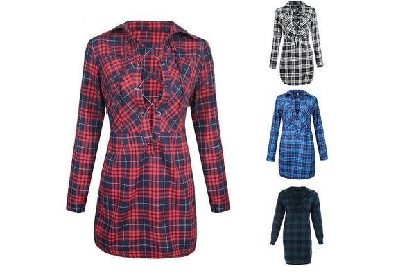 New Women Spring and Summer Side Slit Hollow V Neck Plaid Dress Shirt
