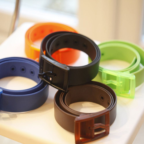 Rubber Leather Belt Smooth Buckle Silicone Belt Belts Waistband Casual Belts