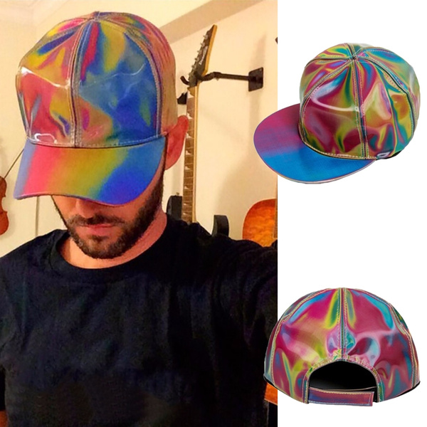 Shiny Rainbow Color Changing Snapback Hat Back To The Future Marty McFly  Baseball Cap High Quality Snapback Cap
