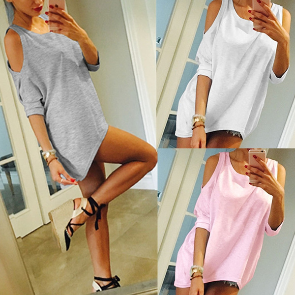 Picture of Sexy Strapless Sleeves Solid Color Wild Irregular T-shirt