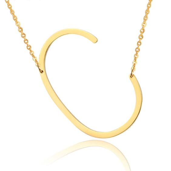 Fashion Letter Necklaces Pendants Alfabet Initial Necklace 24K Gold Stainless Steel Choker Necklace Women Jewelry Kolye Collier