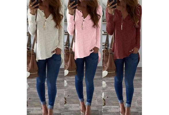 Women Fashion Long Sleeve V-neck Casual Loose White T-shirt