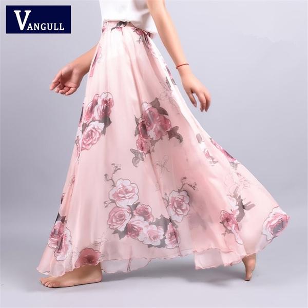 4f975250f80 2017 Summer New Fashion Vintage Bohemia Chiffon Floral Printed Women ...