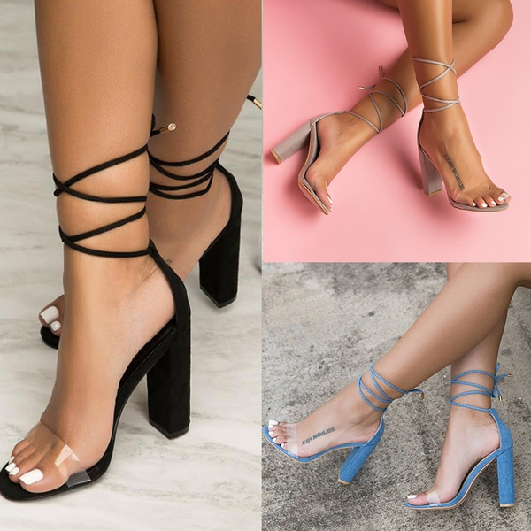 Picture of Thick Heel Women's Fashion High Heel Sandals Summer Sexy Lace Up Shoes Club Wear