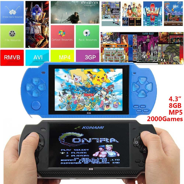 Support 28 LanguageS 4 3 Inch Ultra-Thin 8G Built In Memory Video Game  Console MP5 Music Player With 2000games Support For Camera Video E-book NES