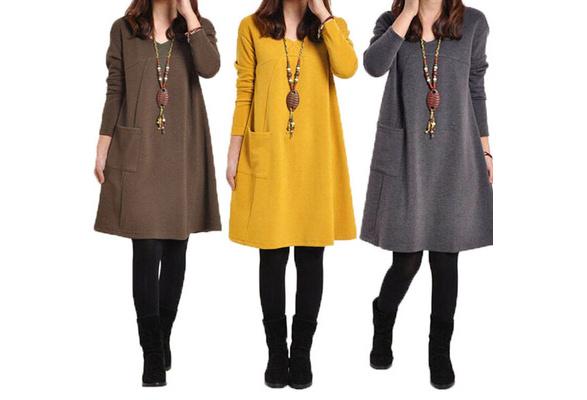 New Fashions Women Loose Long Sleeve Top Blouse T-shirt Tunic Mini Maxi Dress Kaftan Pullover