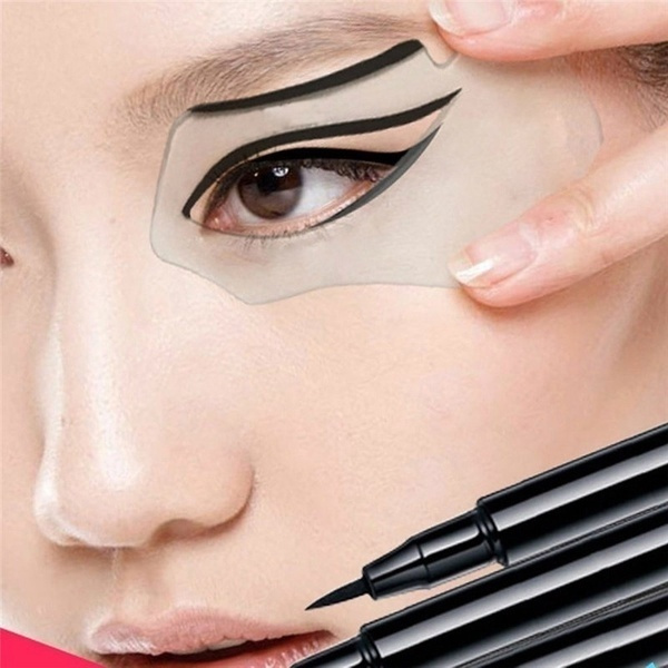 Picture of Women Smoky Eyes Beauty Make-up Models Template Draw Eye Bottom And Top Eyeliner Guide Card Auxiliary Tools 2pcs Color White Color Black