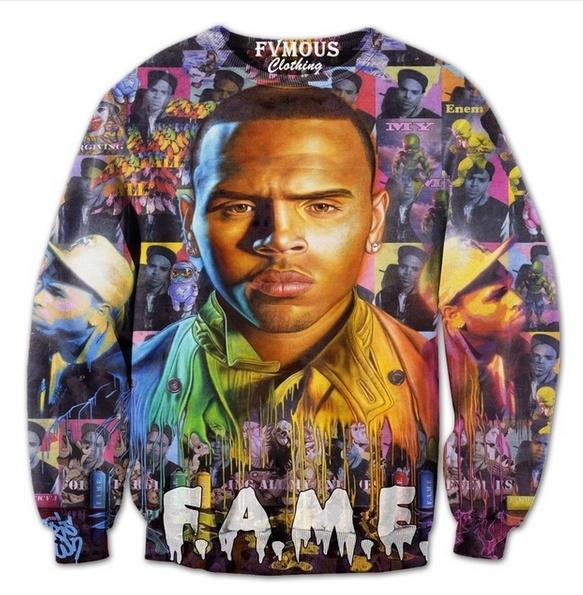New Fashion Womens/Mens Chris Brown Fame Funny 3D Print Crewneck Sweatshirt  Jumper Women/Men Fashion Clothing