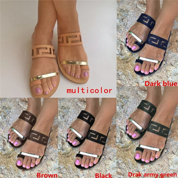 Picture of Summer Fashion Women Flat Sandals Flips Flops Womens Casual Leather Sandals Shoes