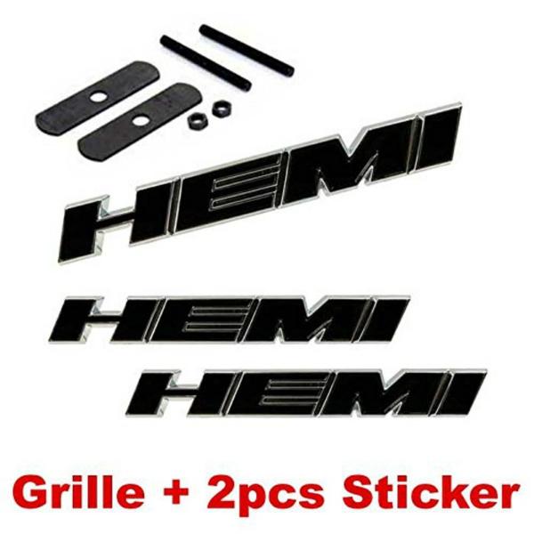 2PCS HEMI Metal Emblem Decal Badge Sticker For Dodge Jeep Chrysler CHARGER BLACK