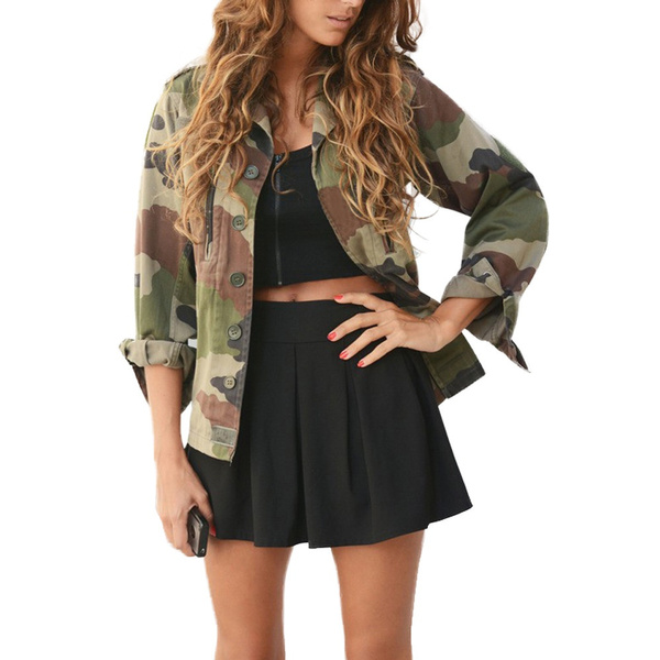 fd9570d27 Wish   Kingdome Women Vintage Military Camo Classic Padded Bomber ...