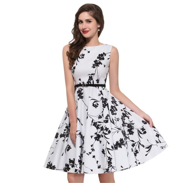 98f86442f0c70 Women Summer Dress 2017 plus size clothing Audrey hepburn Floral robe Retro  Swing Casual 50s Vintage Dresses