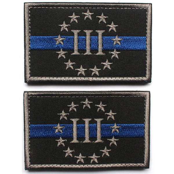 MUNAN Seiko Manufacturing 2pcs Bundle - Three Percenter police law  enforcement thin blue line Tactical Morale Patch with Velcro backing Black