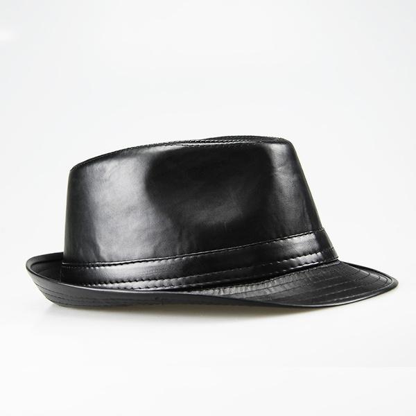 b2e78bf6f Fashion Women Men PU Leather Fedora Hats Vintage Jazz Hat Faux Fur Hip Hop  Trilby Hat Unisex Black CS33