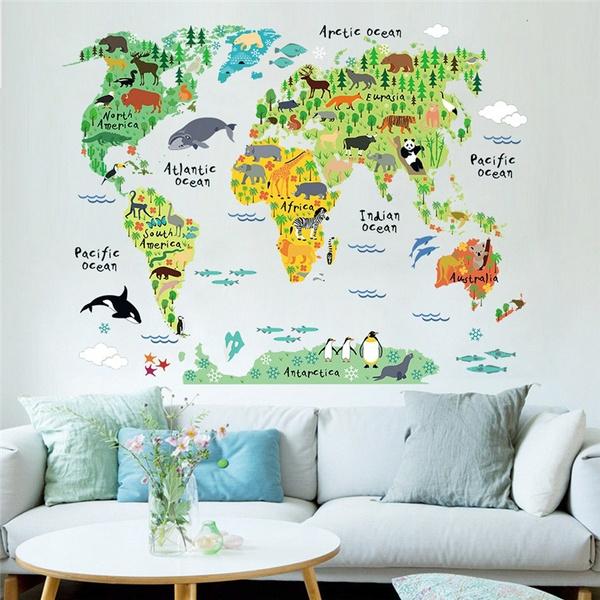 Cartoon Safari Animals World Map Nursery Wall Stickers for Kids Room on malaysia map, thailand map, disneyland map, bangkok map, lumpini park map, amusement park map, erawan shrine map, drayton manor theme park map, cambodia map, zoo map, singapore map,