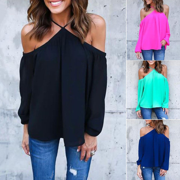 Picture of Sexy Women Halter Off-shoulder Long Sleeve Chiffon Shirt Top Ladies Fashion Blouse Solid Color T-shirt Summer Shirt Tops