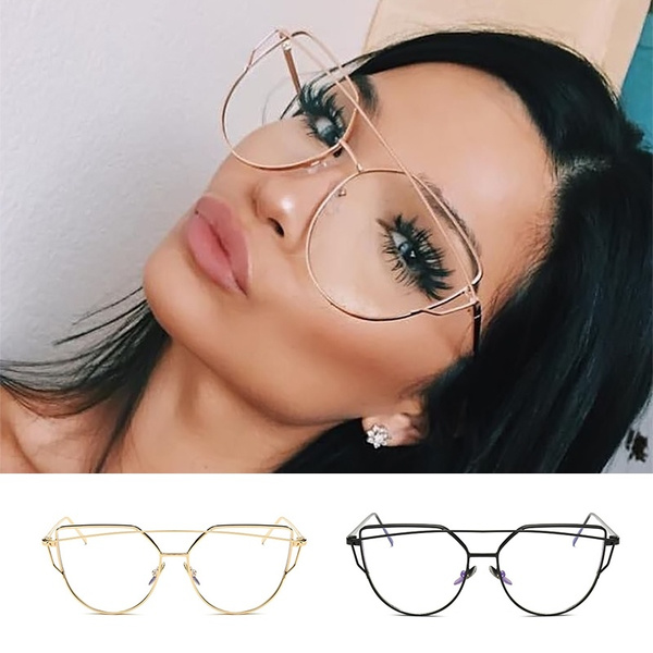 Fashion Women Cat Eye Clear Lens Glasses Luxury Silver Metal Eyeglasses Frame Sexy Girls Eyewear Vintage Aviator Oversize Plain Mirror Sunglasses Summer Gifts
