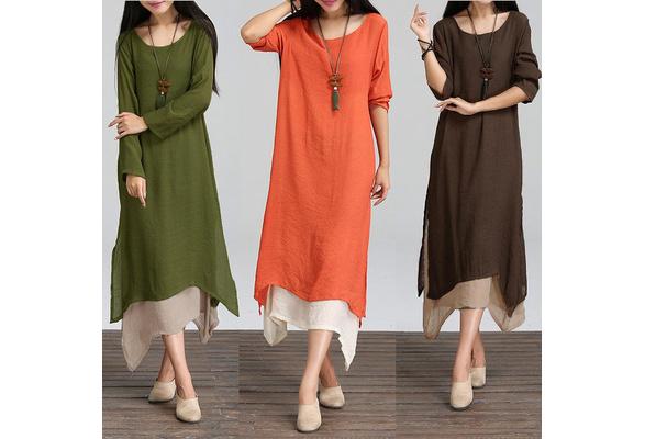 EDTO Women Boho Floral Print Dresses Women Plus Size Casual Loose Sleeveless Boho Retro Linen Print Long Maxi Dress