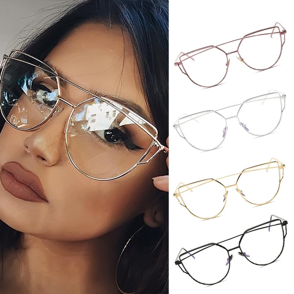 Picture of Fashion Women Cat Eye Clear Lens Glasses Luxury Silver Metal Eyeglasses Frame Sexy Girls Eyewear Vintage Aviator Oversize Sunglasses