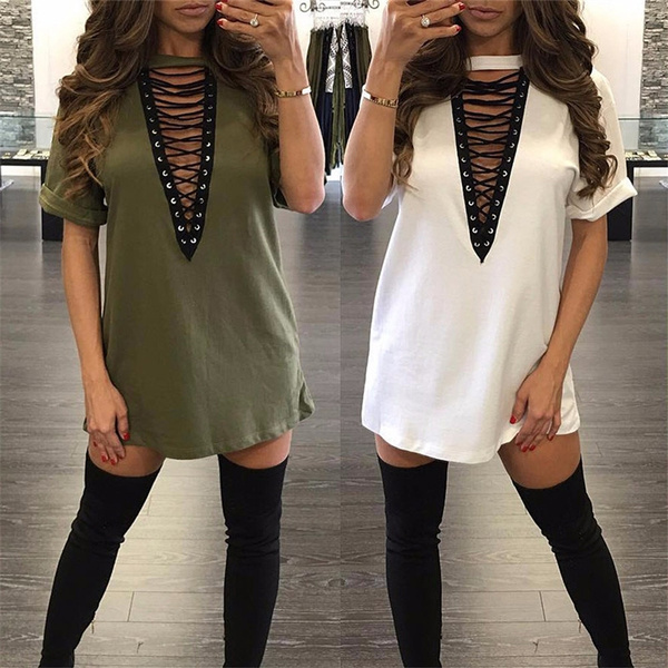Picture of Deep V Solid Color Blouse Women Casual Sexy Mini Dress