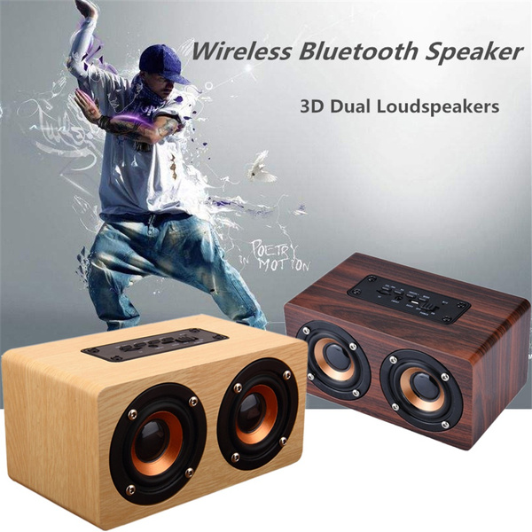 Picture of Finec 10w Output Retro Wood Wireless Bluetooth Speaker Portable Hifi Speaker Bluetooth Mini 3d Dual Loudspeakers Usb Charging Ius